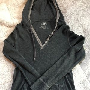 Thin Long Sleeve 1/4 Button Hoodie